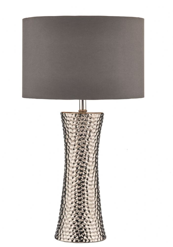 Dar Bokara Table Lamp Silver complete with Shade BOK4232/X (Class 2 Double Insulated)